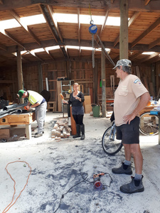 Pete, Lynn and Jamie at work in the shed